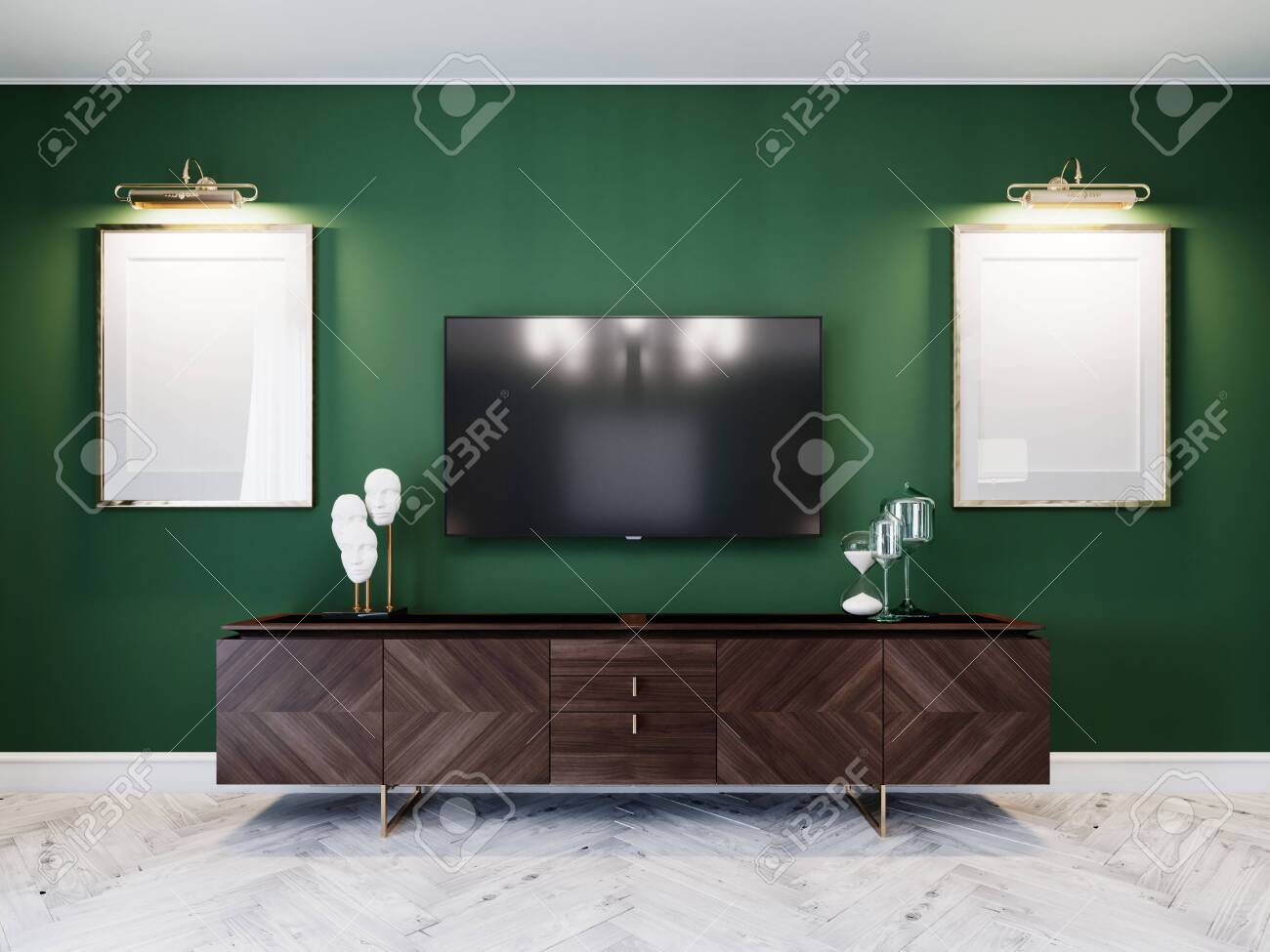 Tv Unit In The Living Room With A Chest Of Drawers Two Paintings Stock Photo Picture And Royalty Free Image 150530190