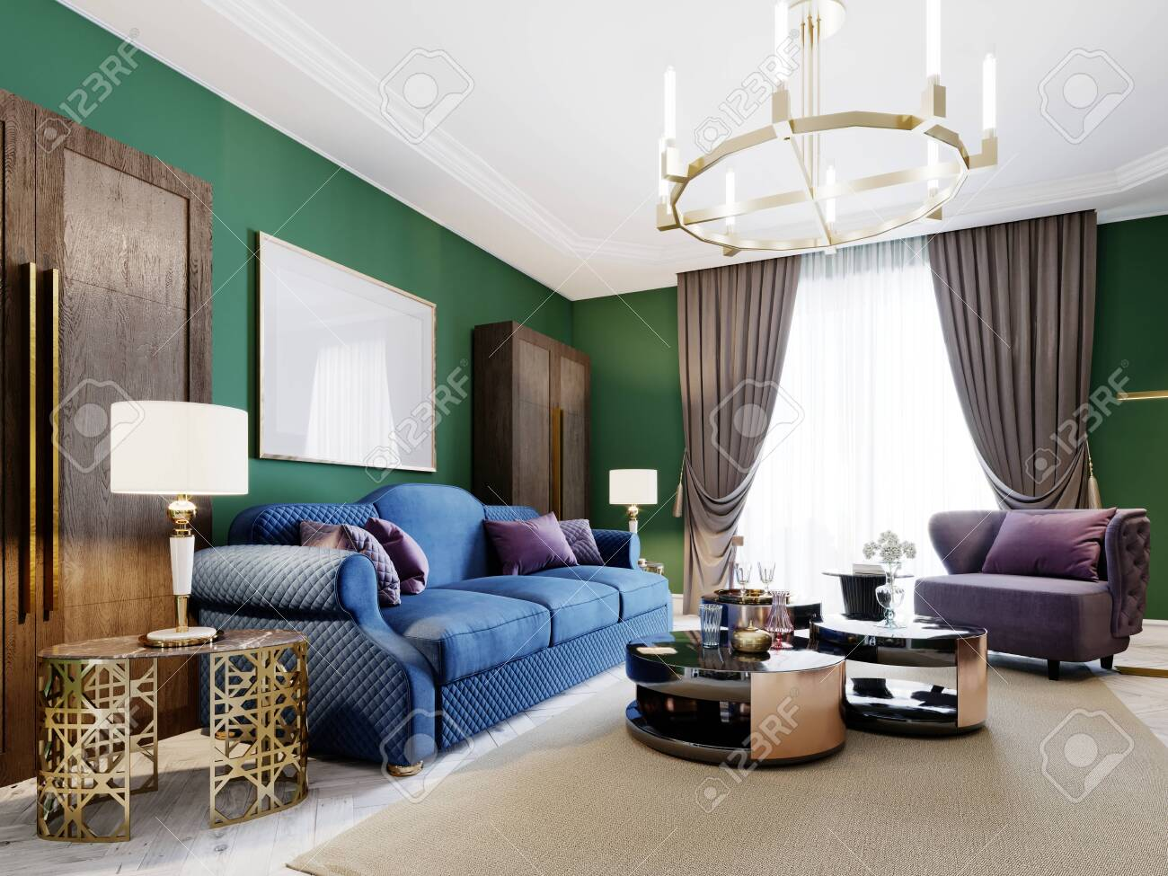Living Room In Art Deco Style With Green Walls And Purple Upholstered Stock Photo Picture And Royalty Free Image Image 150526208