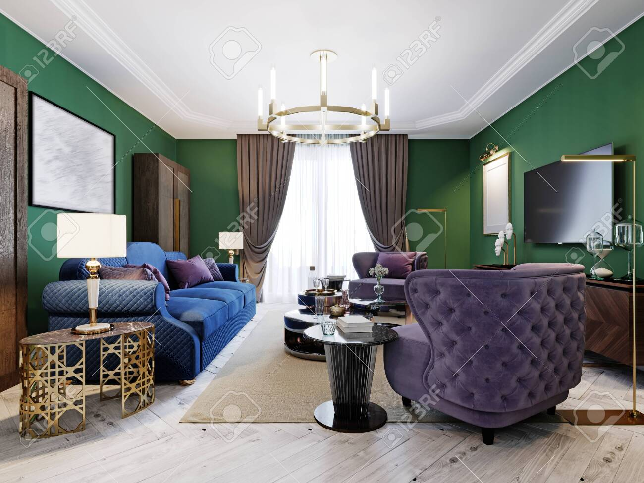 Living Room In Art Deco Style With Green Walls And Purple Upholstered Stock Photo Picture And Royalty Free Image Image 150532382