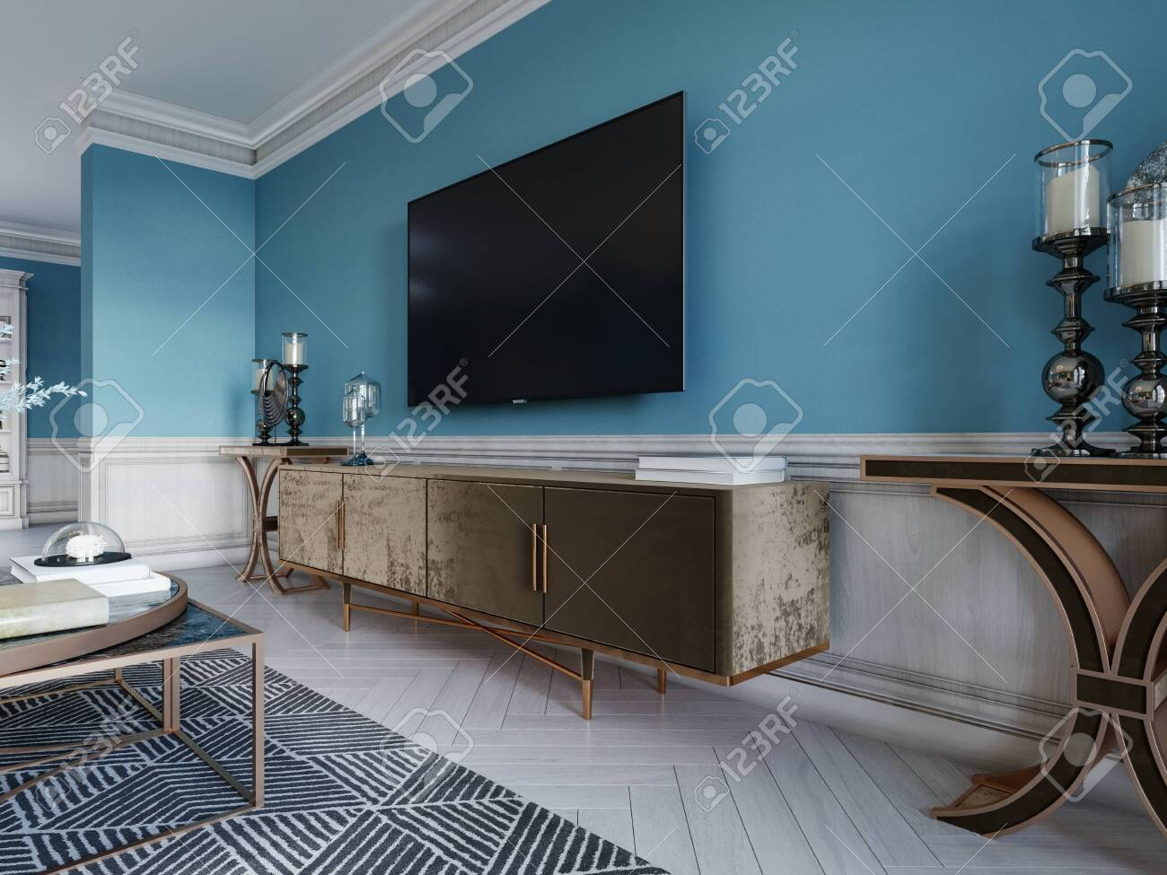 Tv Unit Tv Set In A Modern Living Room In A Classic Style With Stock Photo Picture And Royalty Free Image Image 150561773