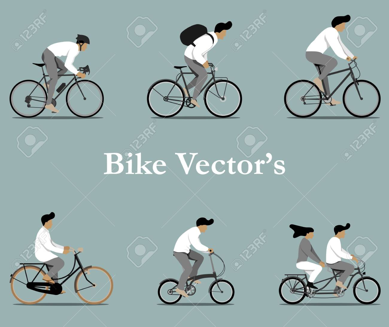 Set of various bicycles vectors in flat design. - 152951002