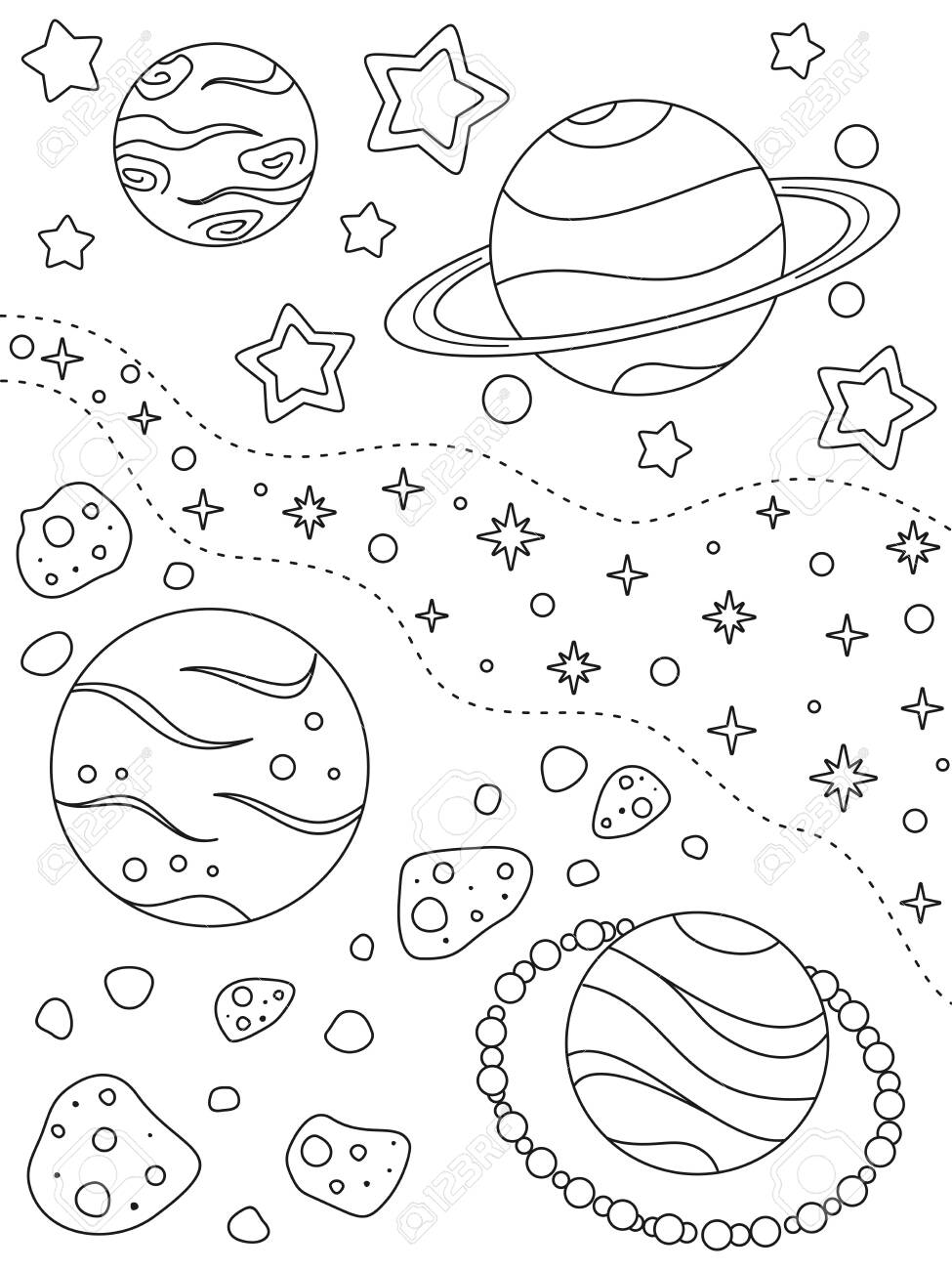 Coloring page with different planets, asteroids, nebulae and stars, black elements on a white background. Deep space. Vector design template for kids coloring book, print and poster. Entertainment and recreation for children - 149063806