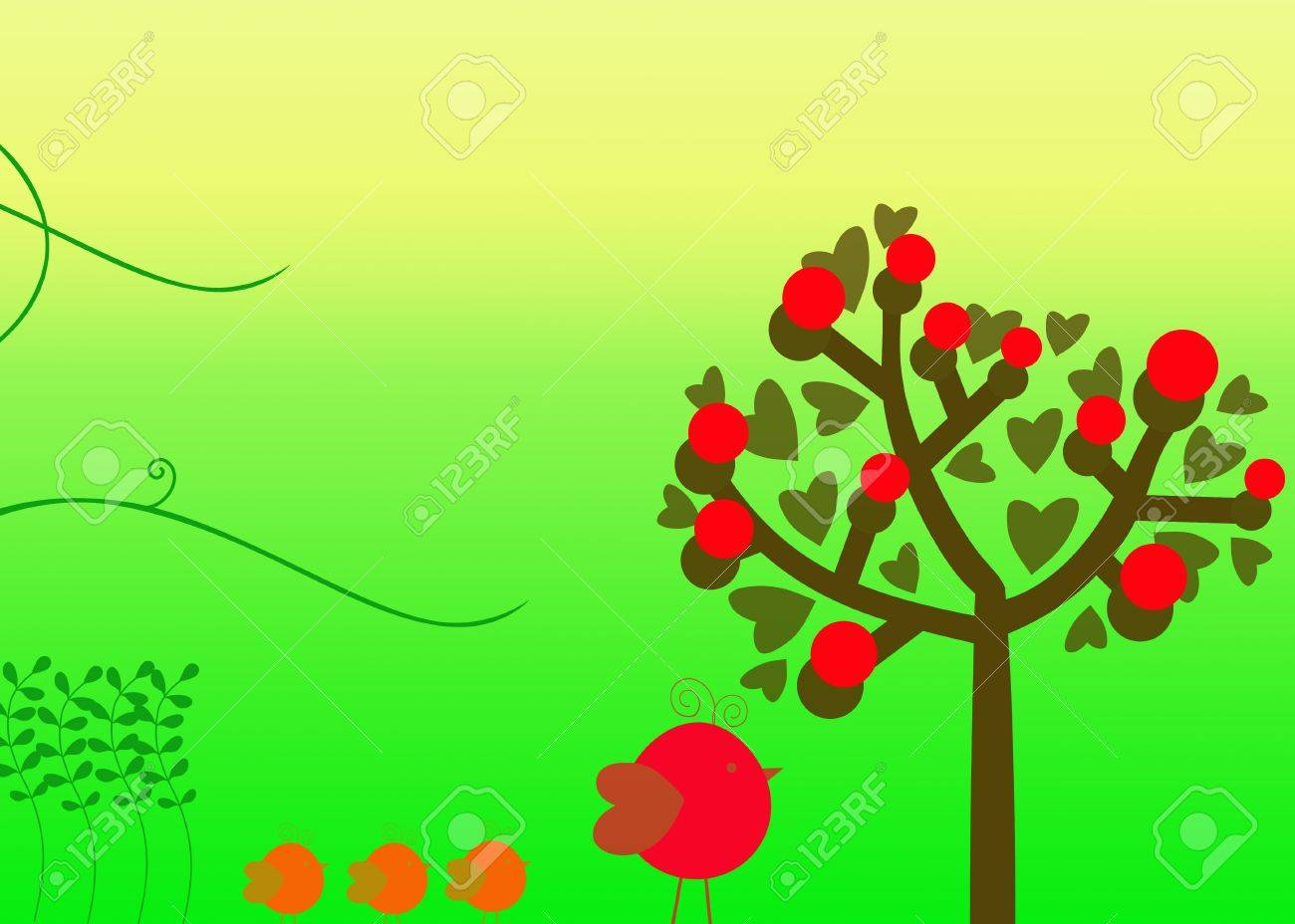 Family of birds and trees Illustration of a cartoon family of birds and trees Stock Illustration - 13082546