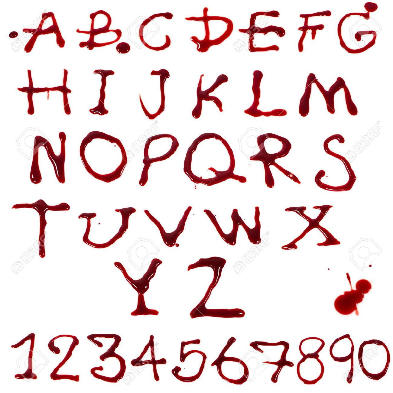 Letters A Z And 1 10 Dripping With Blood On White Background Stock Photo