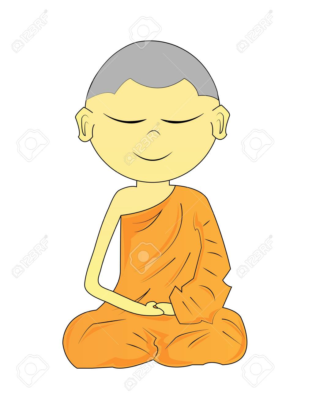 Buddhist Monk cartoon on a white background Stock Photo - 18656587