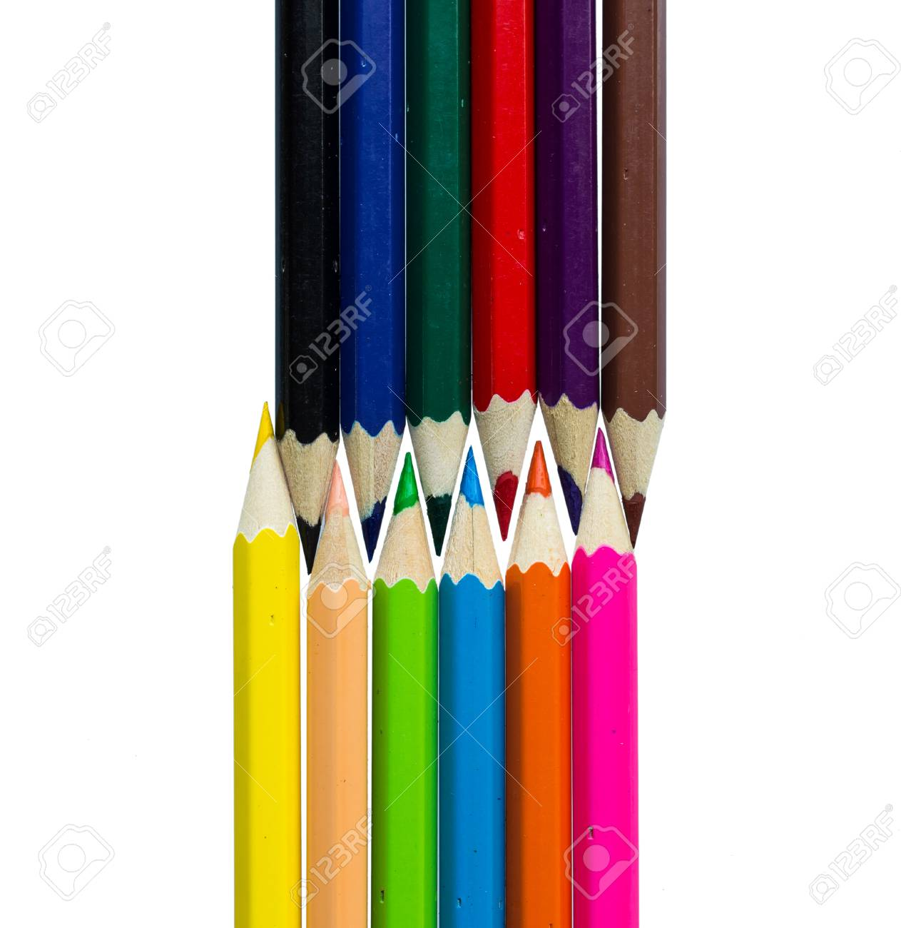 Drawing supplies: assorted color pencils, on white background