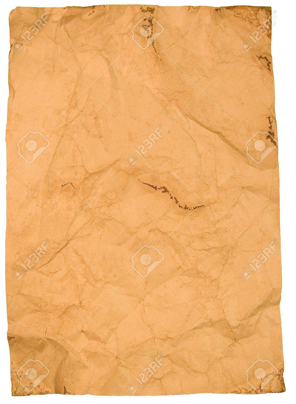 Sheet of old paper (isolated on white) Stock Photo - 3525222