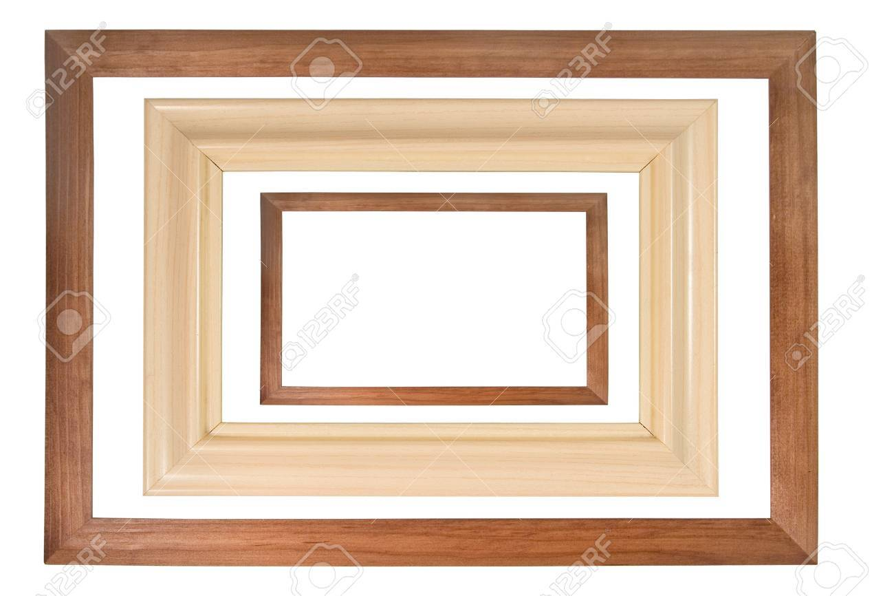 Set Of Three Wooden Photo Frames Isolated On White Stock Photo ...