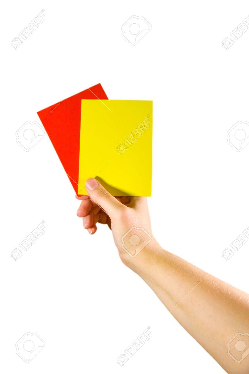 Hand holding red and yellow cards (isolated on white) Stock Photo - 5609711