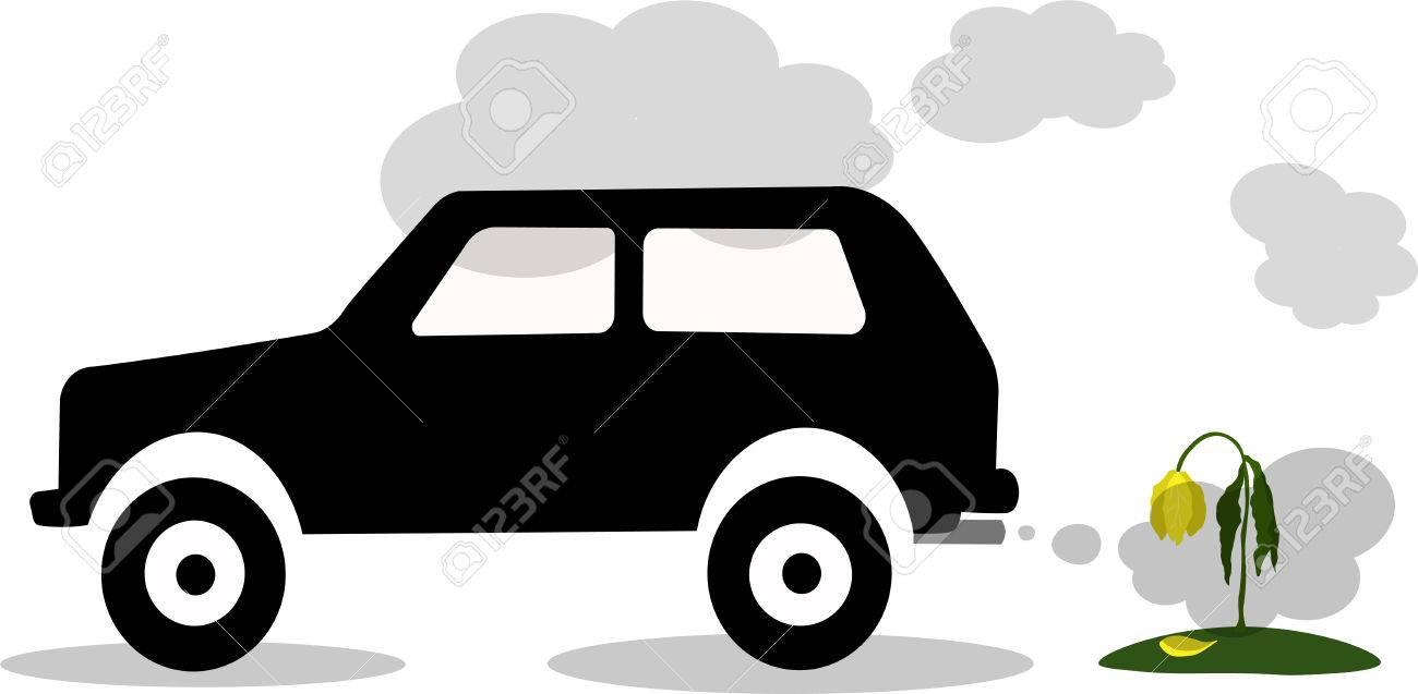 Vector Illustration Car Exhaust Co2 Smoke