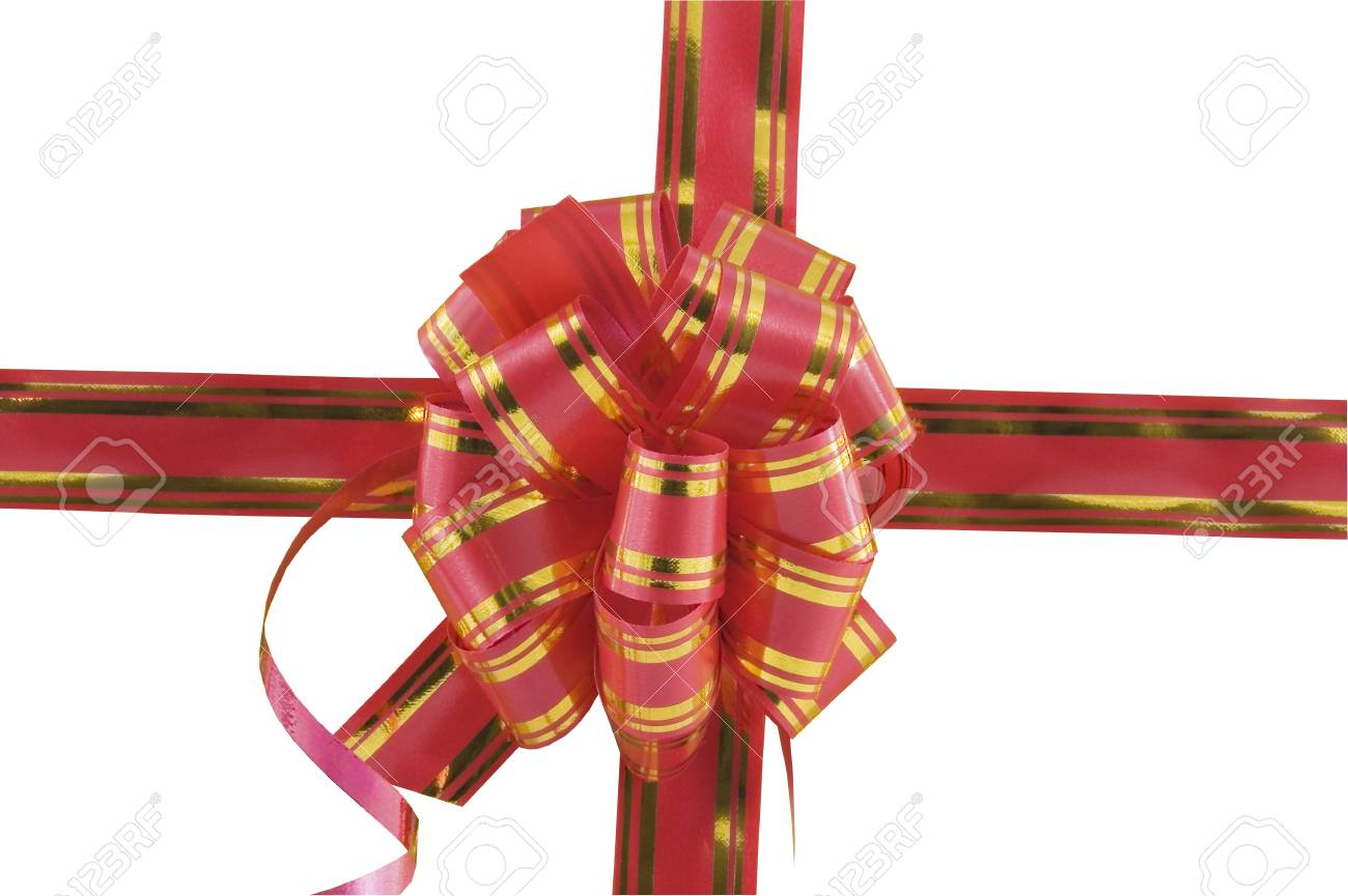 Red holiday bow on yellow background Stock Photo - 6062535