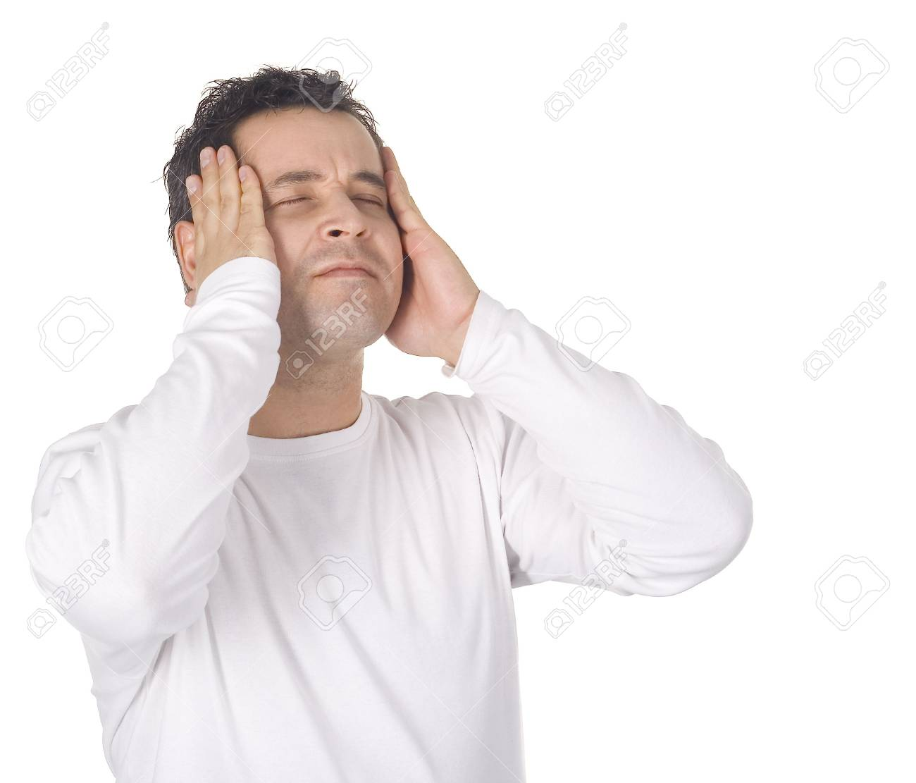Portrait of a young man with a headache Stock Photo - 6419246