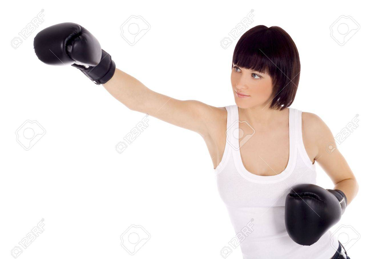 brightly picture of woman in boxing gloves Stock Photo - 7017495