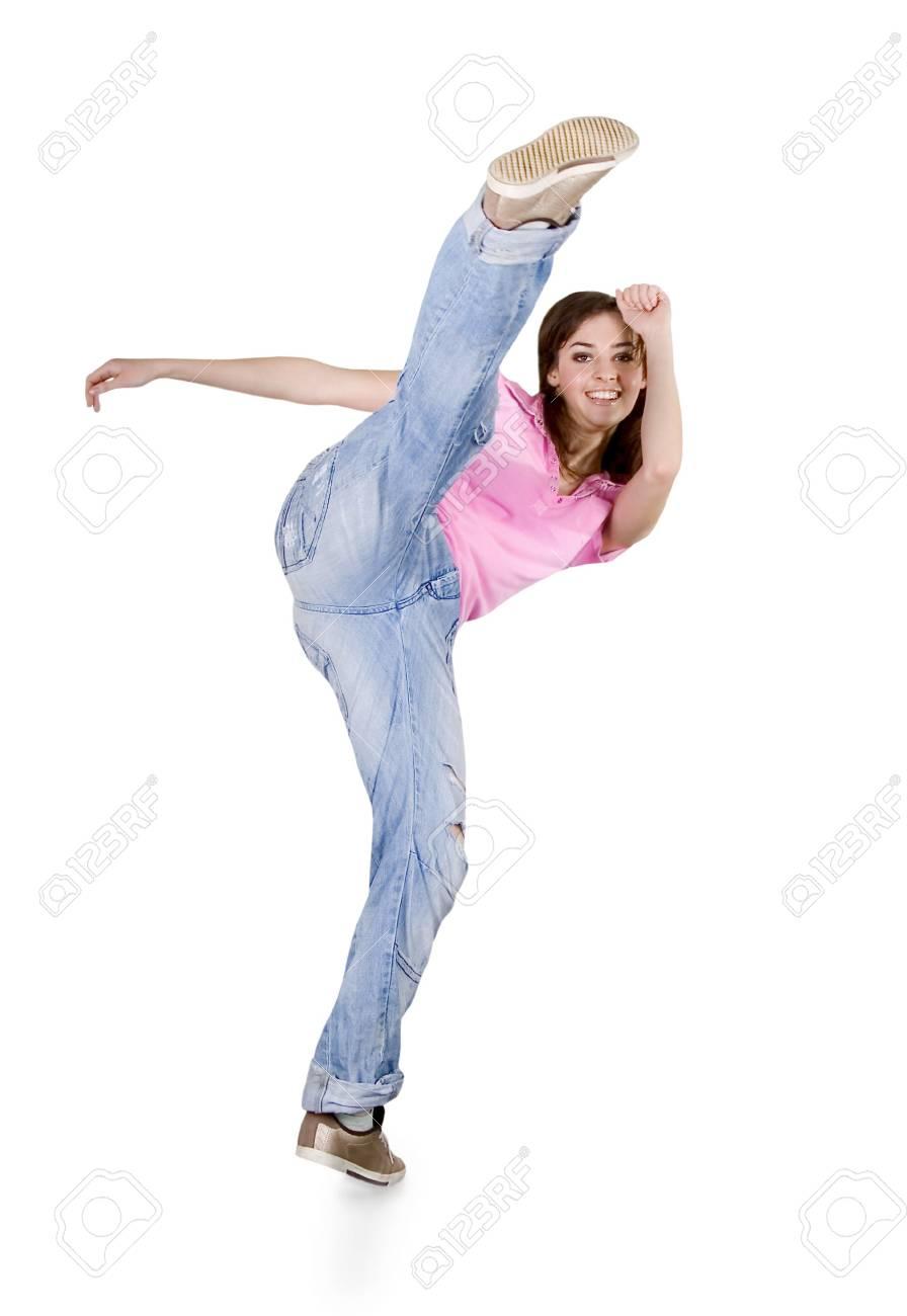 Teenage girl dancing hip-hop over white Stock Photo - 7107965