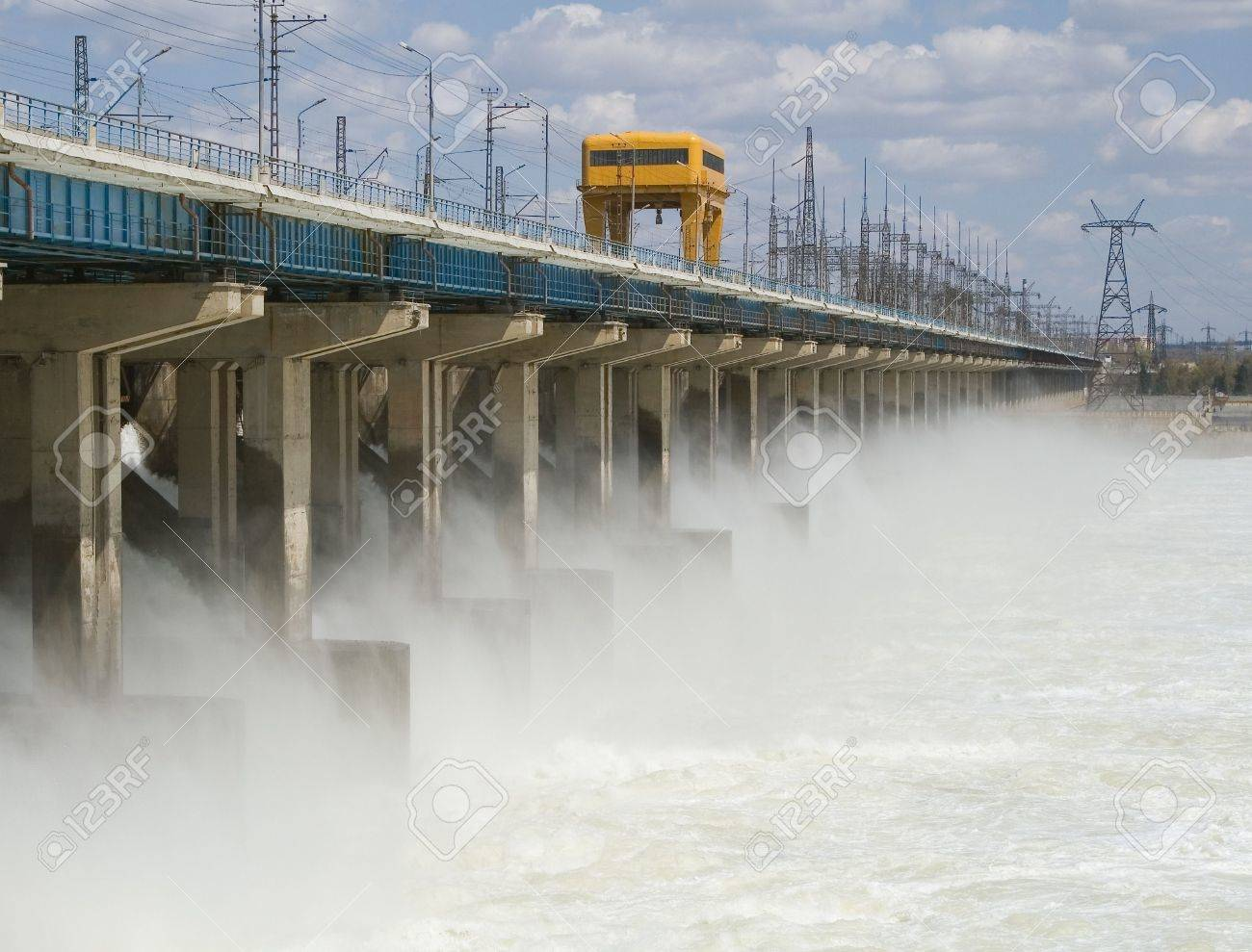 Reset of water at hydroelectric power station on the river Stock Photo - 7928528