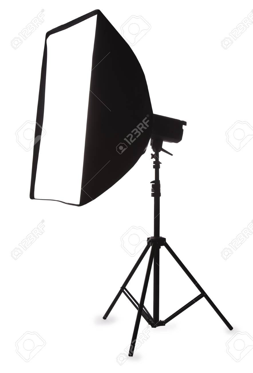 Studio strobe with softbox isolated on the white Stock Photo - 8380806