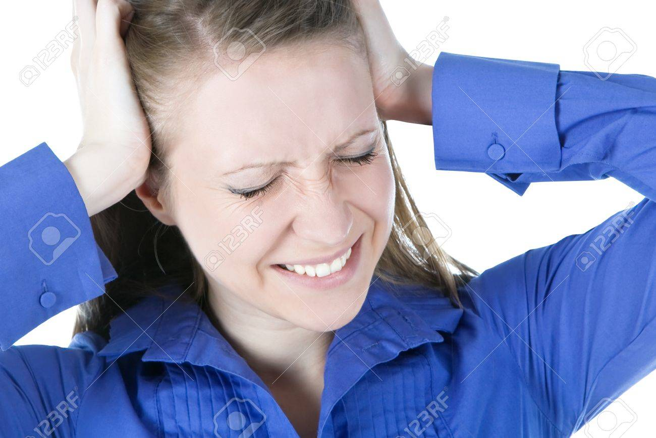 woman with headache holding her hands to the head Stock Photo - 9657074