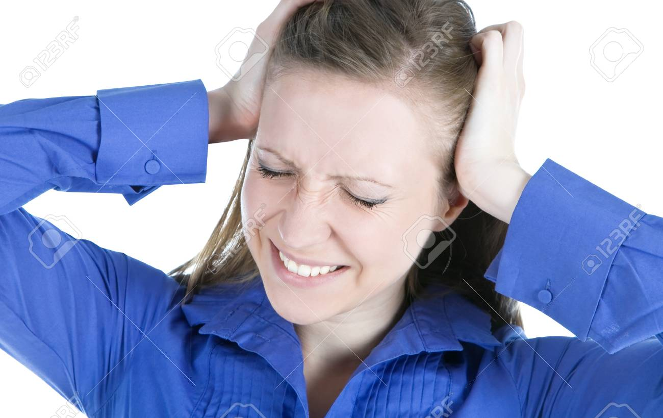 woman with headache holding her hands to the head Stock Photo - 9727520