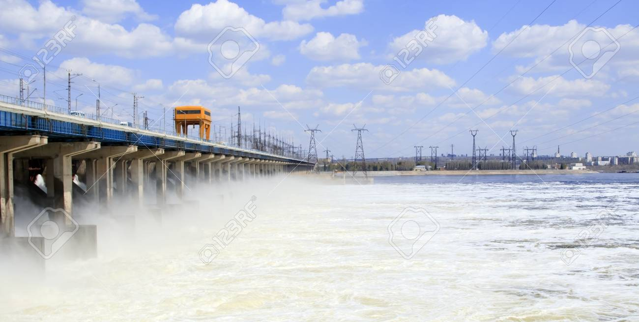 Reset of water at hydroelectric power station on the river Stock Photo - 13019449