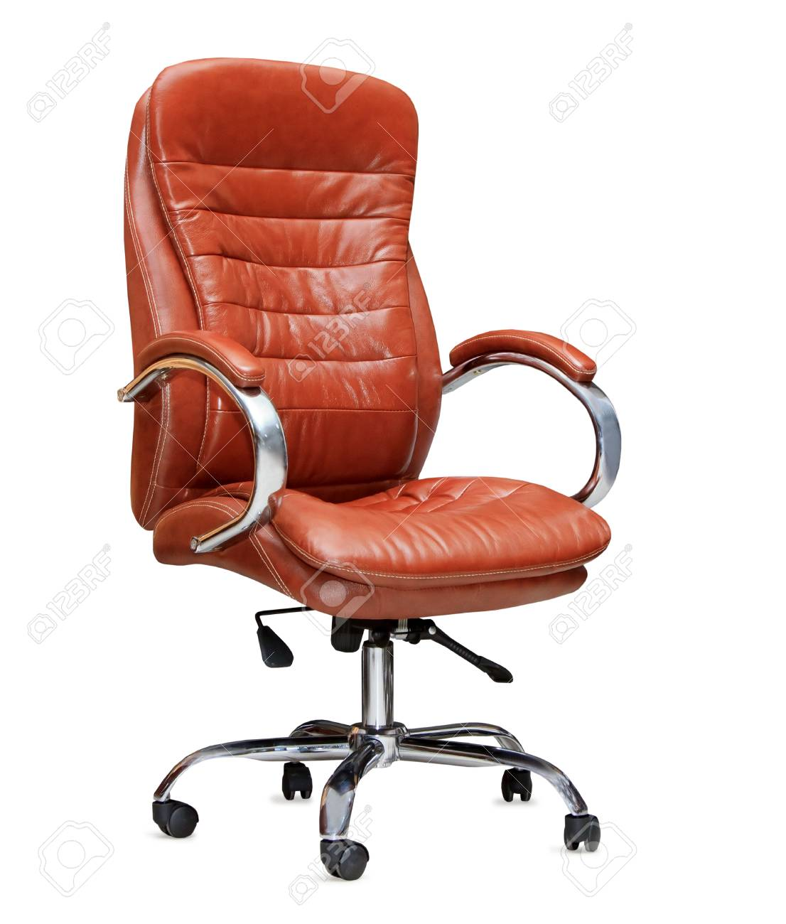 The Office Chair From Orange Leather Isolated Stock Photo Picture And Royalty Free Image Image 22635083