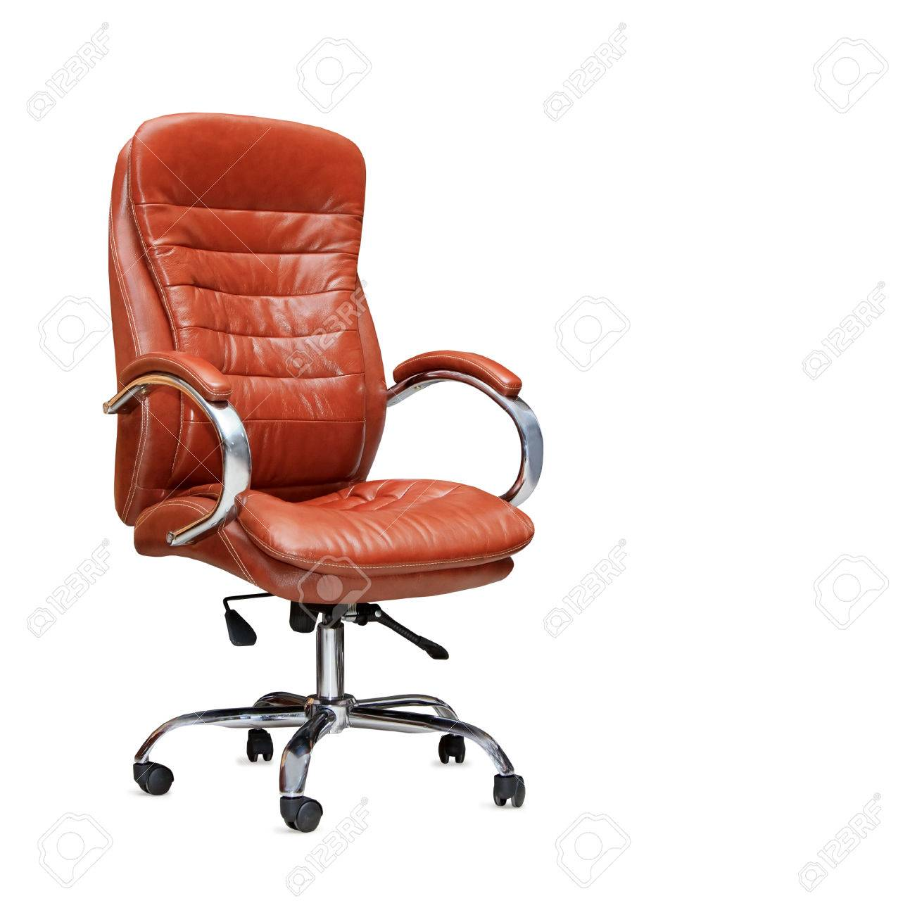 Picture of: The Office Chair From Orange Leather Isolated Stock Photo Picture And Royalty Free Image Image 24401111