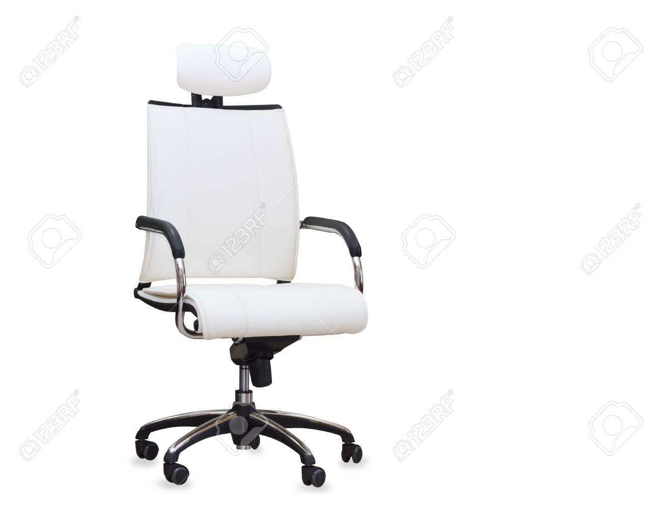 Sedia Da Ufficio Bianca.Immagini Stock Sedia Da Ufficio Moderna In Pelle Bianca Isolato