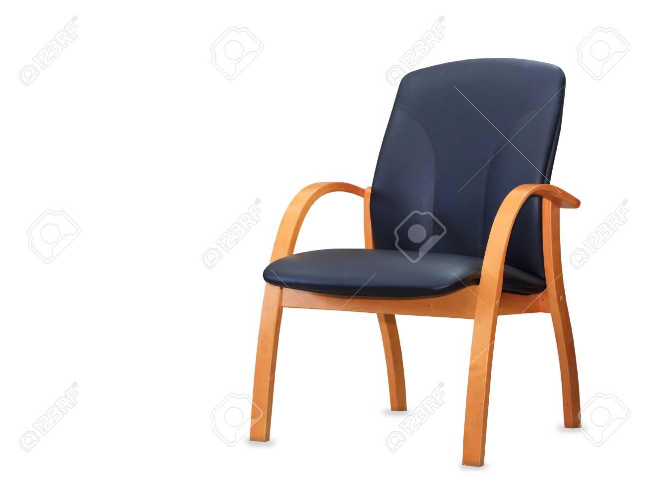 Moderne chaise de bureau en cuir noir isolé banque d images et