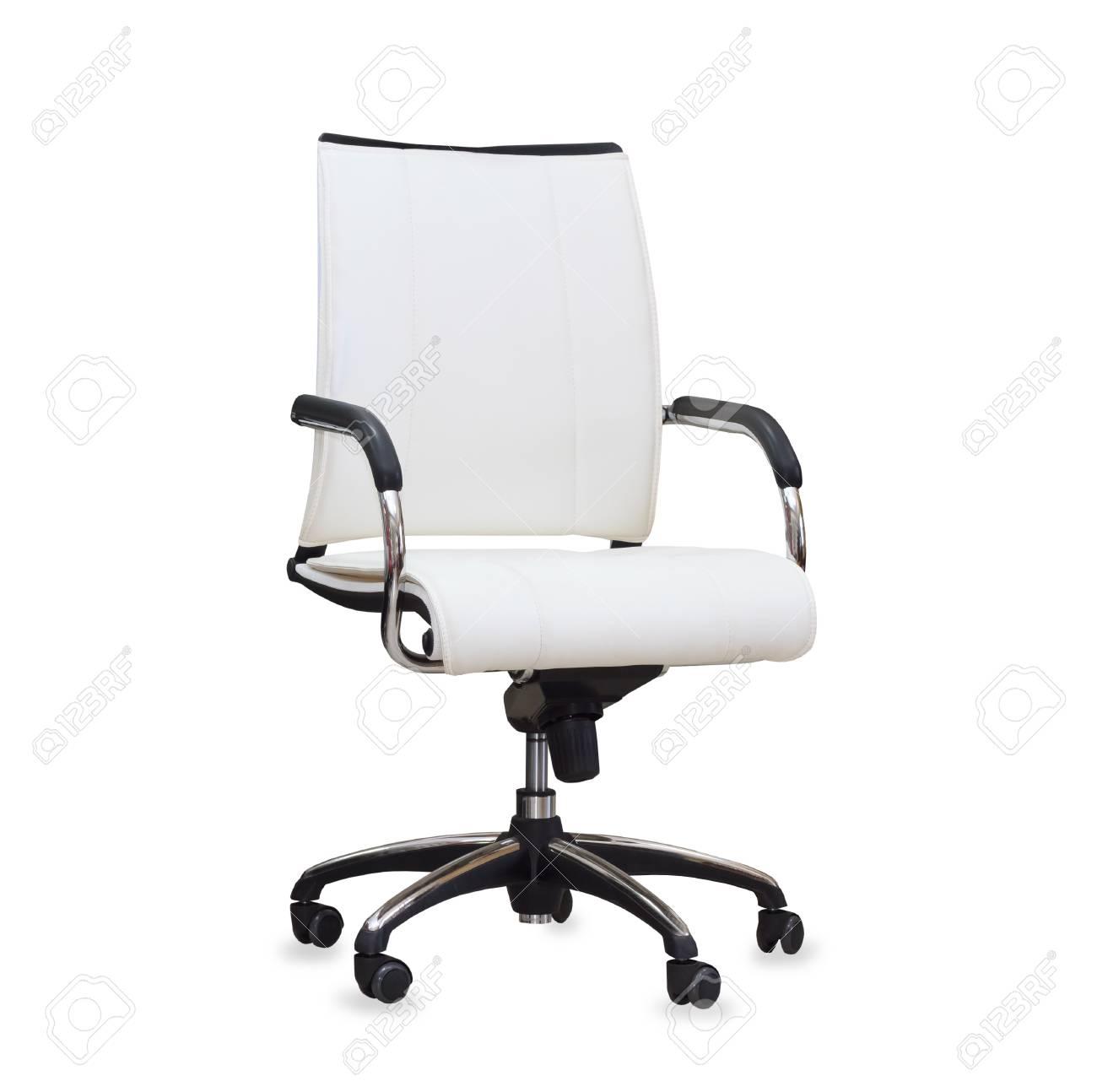 Draaistoel Wit Leer.Moderne Bureaustoel Van Wit Leer Geisoleerd Royalty Vrije Foto