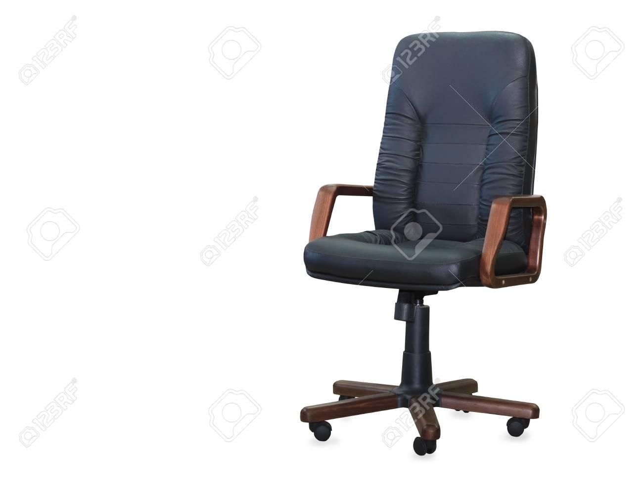 Chaise de bureau moderne en cuir noir isolé banque d images et