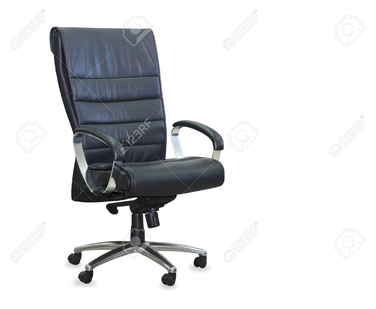 Marvelous Modern Office Chair From Black Leather Isolated Interior Design Ideas Gentotryabchikinfo