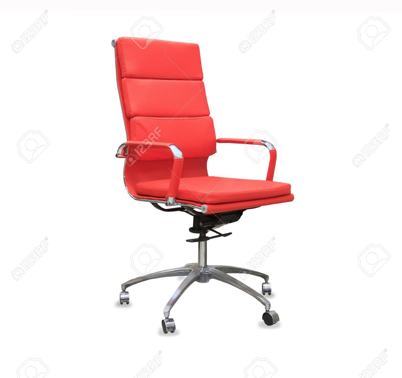 Bureaustoel Rood Leer.Moderne Bureaustoel Van Rood Leer Geisoleerd Royalty Vrije Foto