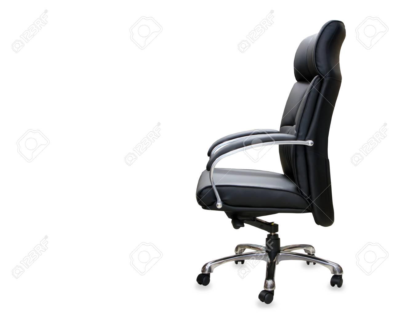 La poltrona da ufficio in pelle nera isolato foto royalty free