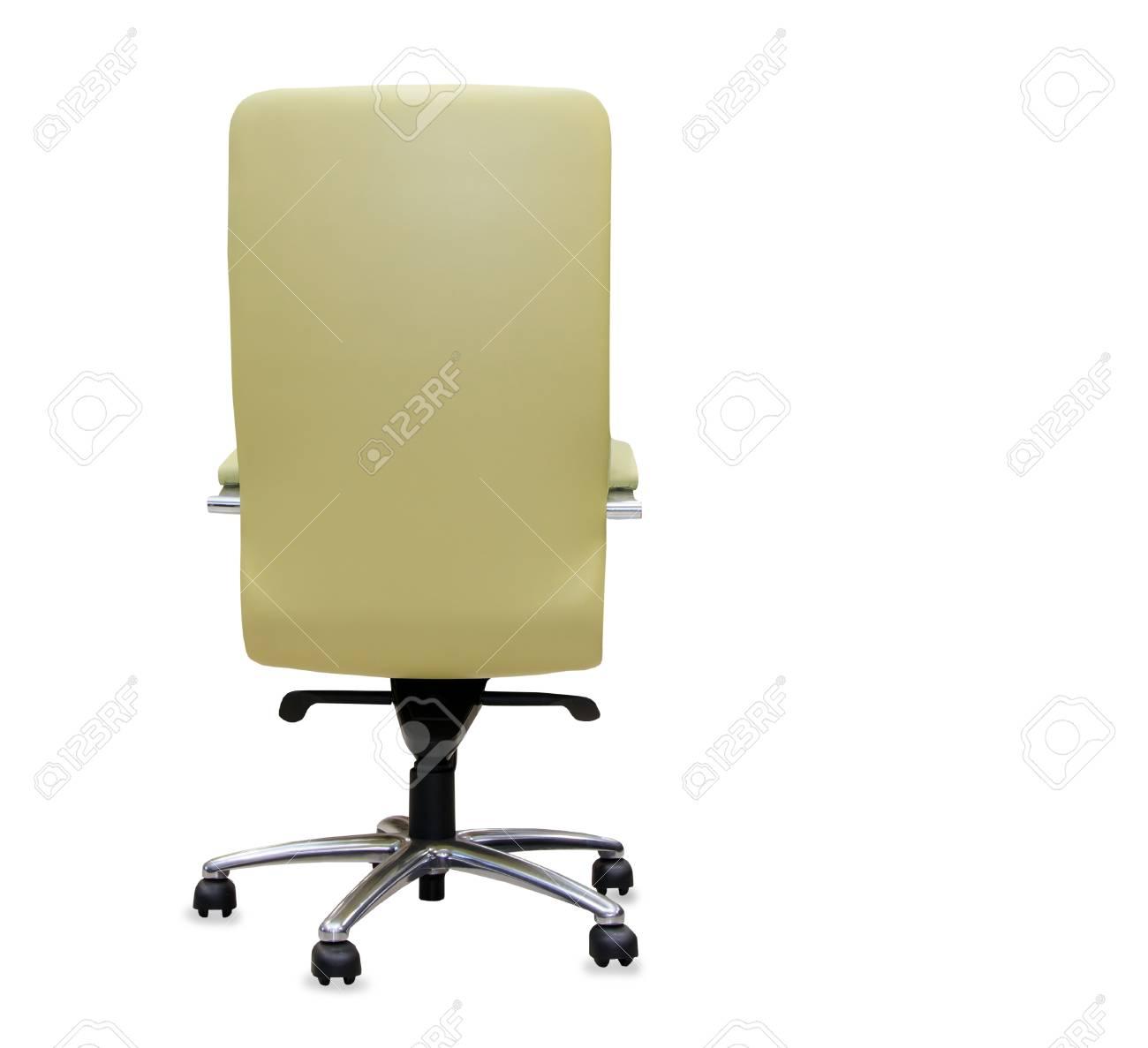 Vue De Dos La Chaise Bureau Moderne Cuir Noir Isole Banque