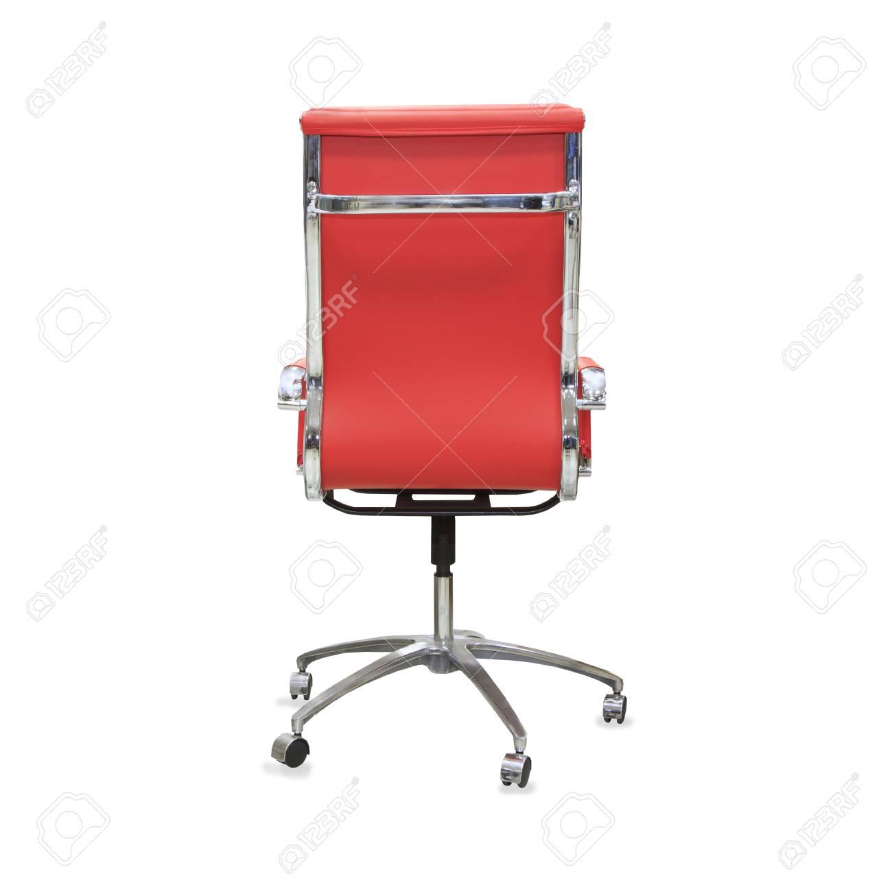 Vue De Dos La Chaise Bureau Moderne Cuir Rouge Isol