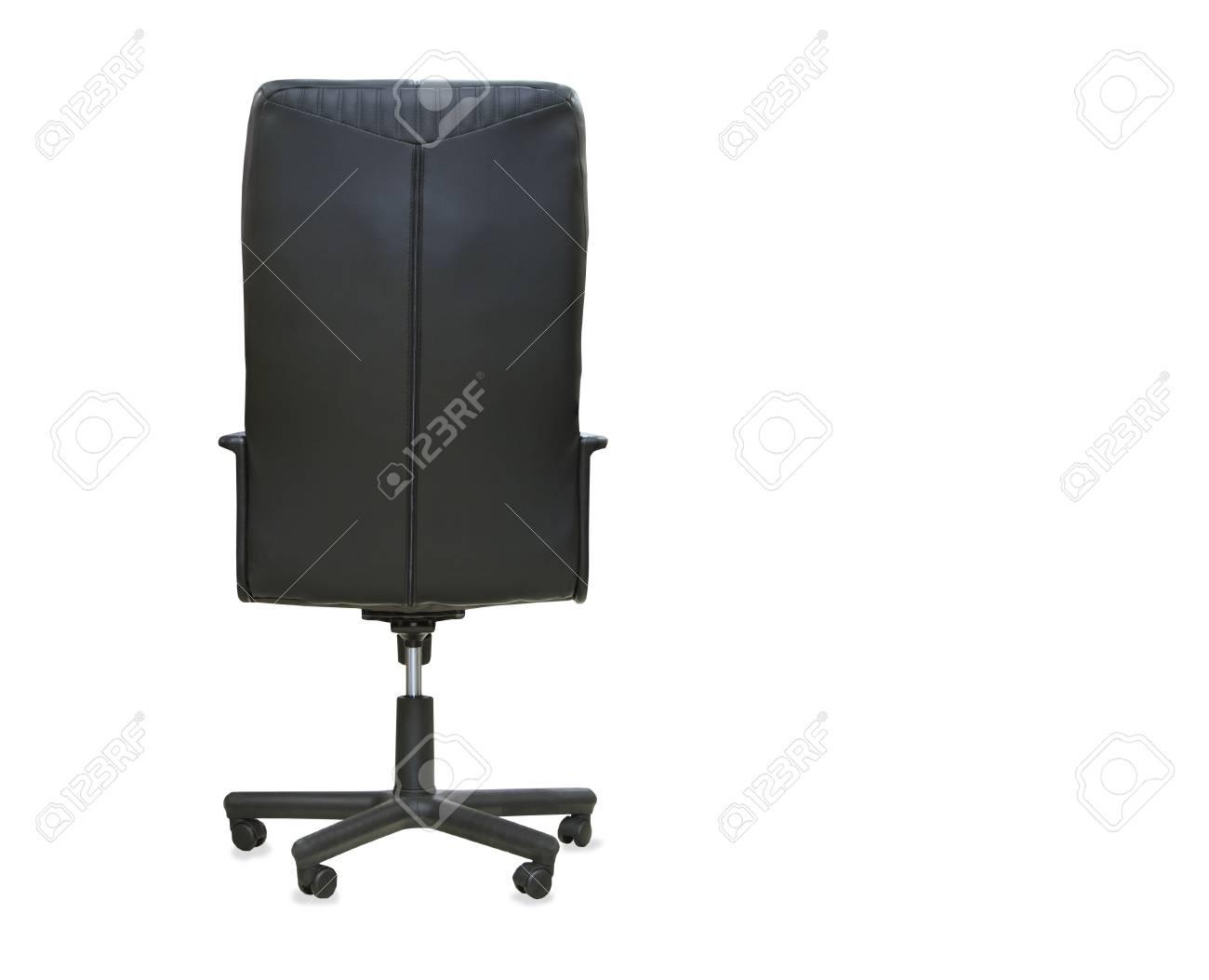 Vue arrière de la chaise de bureau moderne en cuir noir isolé