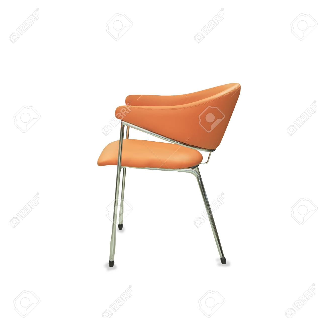 Picture of: The Office Chair From Orange Leather Isolated Stock Photo Picture And Royalty Free Image Image 64222389