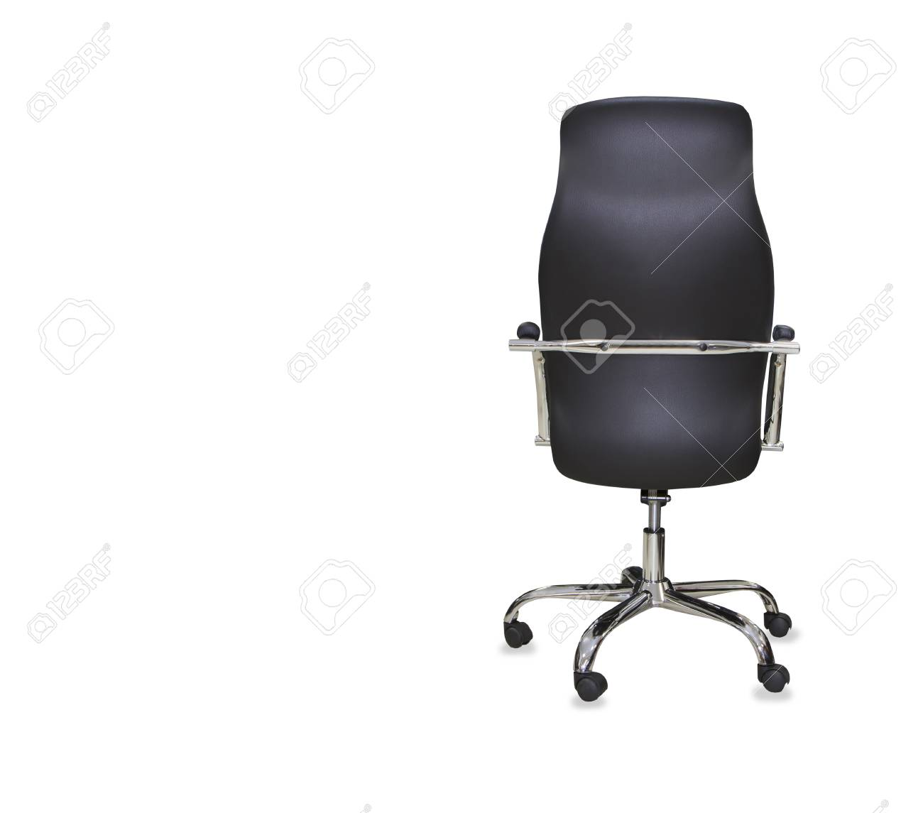 office chair back view. Back View Of Modern Office Chair From Black Leather. Isolated Stock Photo - 66803160