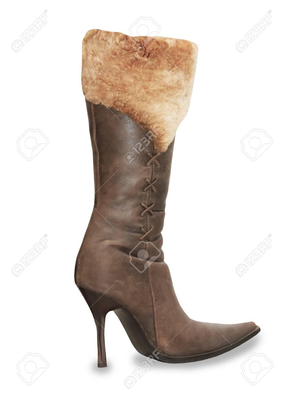 De Alto Sobre Tacón Botas Marrón Ante Zapatos Aislados Blanco La Mujer BQxWroEdeC