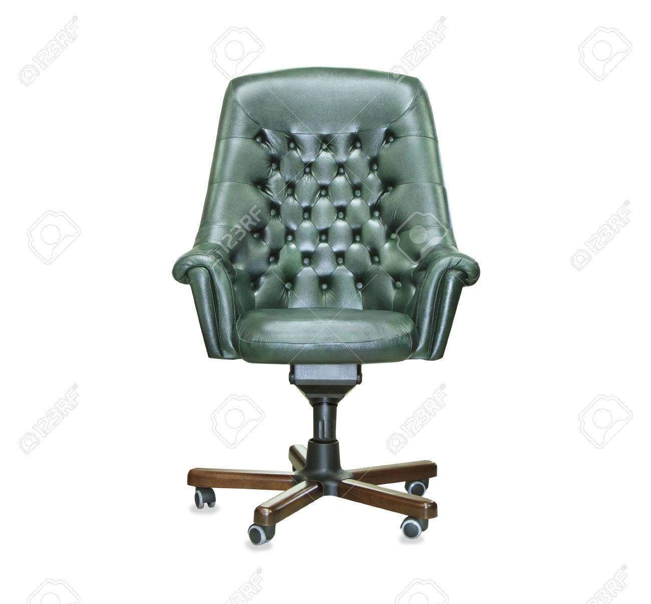 president office furniture. Stock Photo - The President Office Chair From Green Leather. Isolated Furniture
