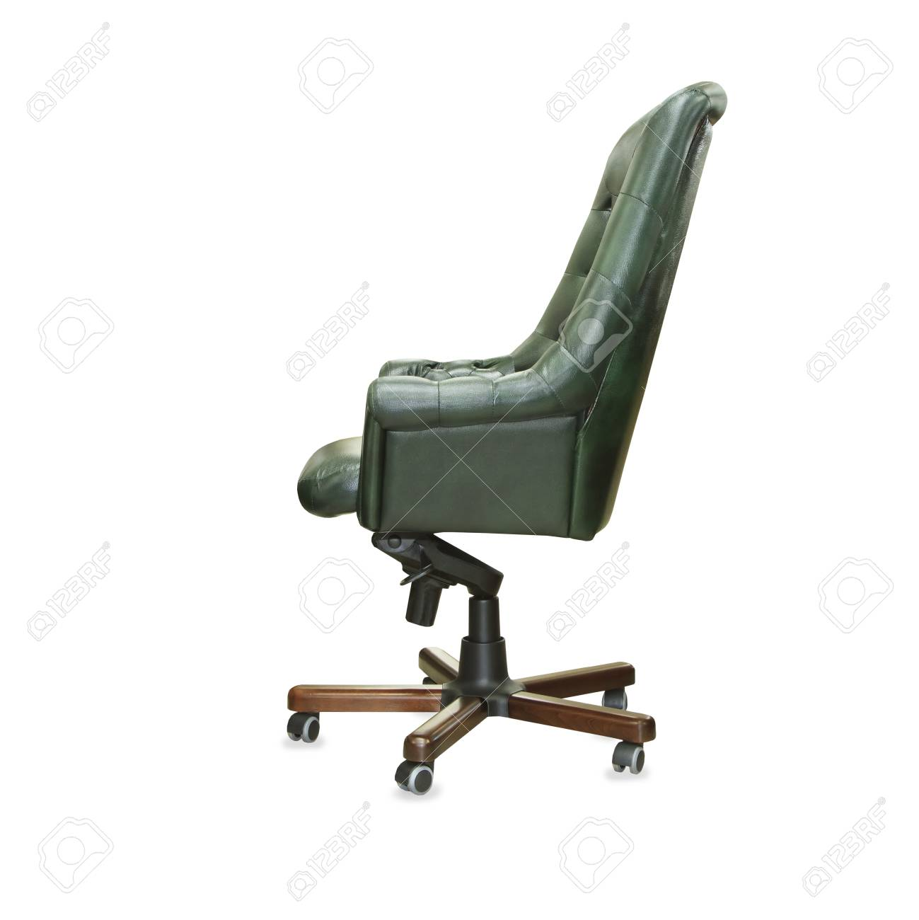 president office chair. Stock Photo - The Profile View Of President Office Chair From Green Leather. Isolated