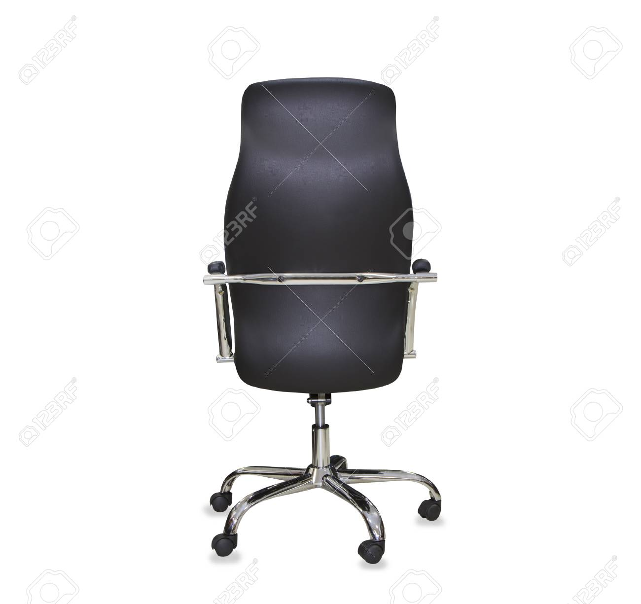 office chair back view. Back View Of Modern Office Chair From Black Leather. Isolated Stock Photo - 71173642