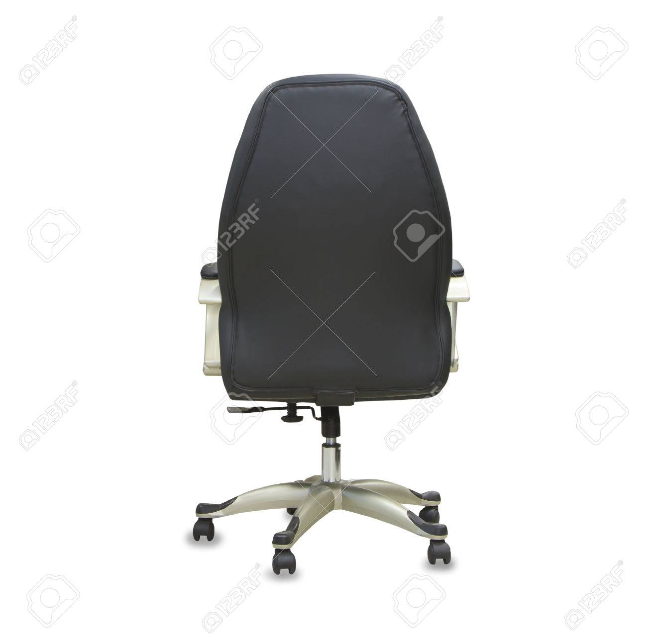 Office chair back view - Back View Of Modern Office Chair From Black Leather Isolated Stock Photo 80420928