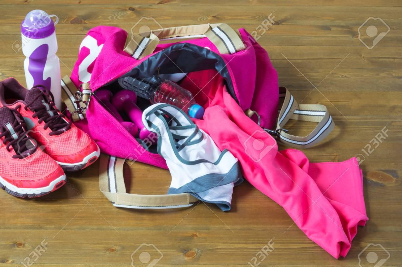 Women's sports bag with stuff inside - 63336301