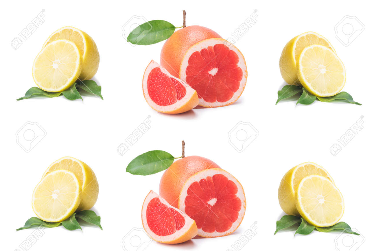 Isolated citrus slices, fresh fruit cut in half orange, pink grapefruit, lemon, in a row, on a white background - 122096126
