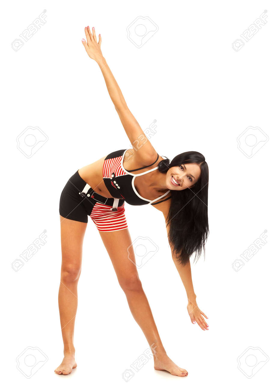 Fitness young smiling woman doing exercise. Pretty young woman in Fitness series. Isolated over white background Stock Photo - 685217
