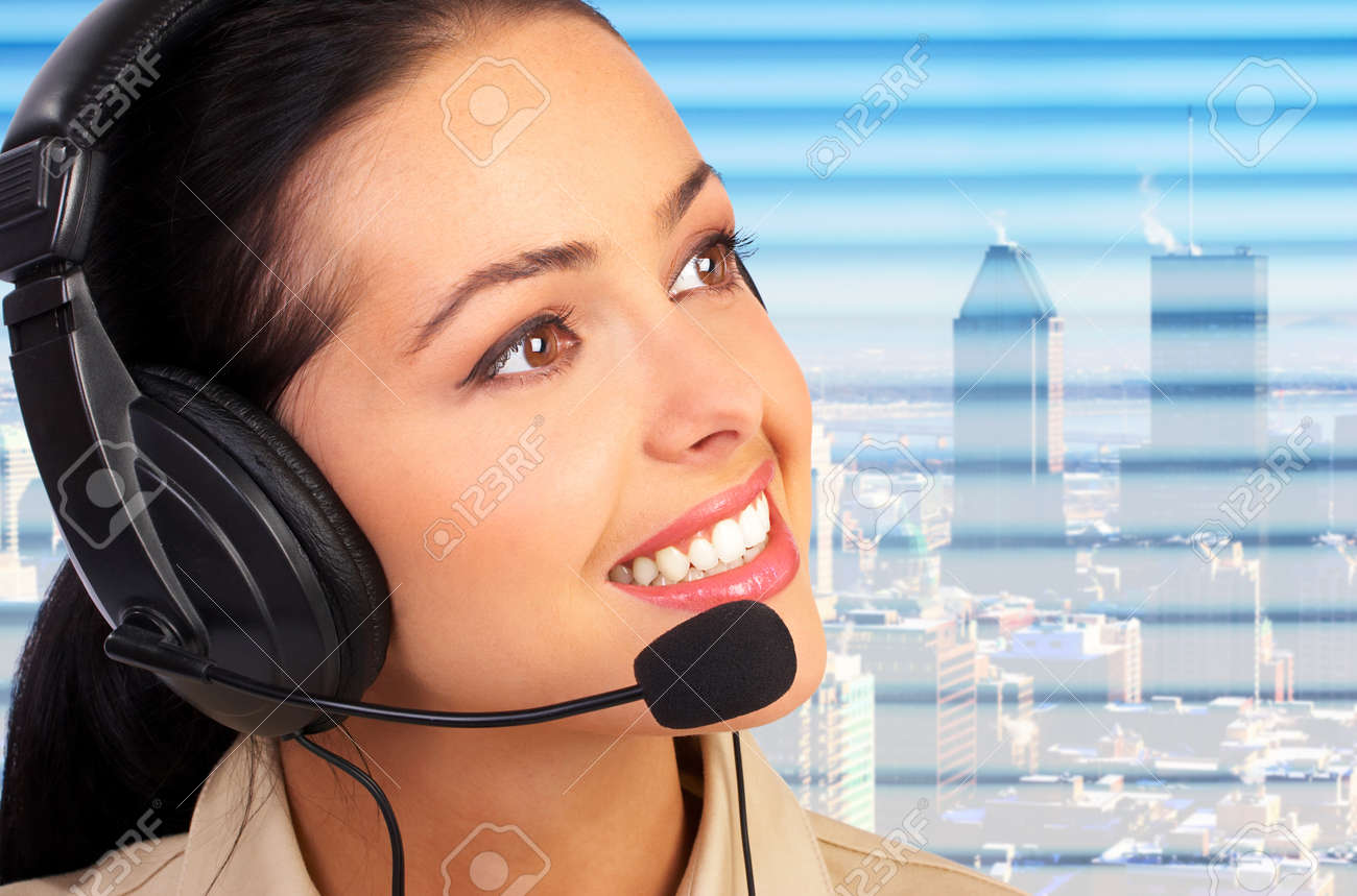 Business woman with a  headset. Operator of a call center Stock Photo - 1622688