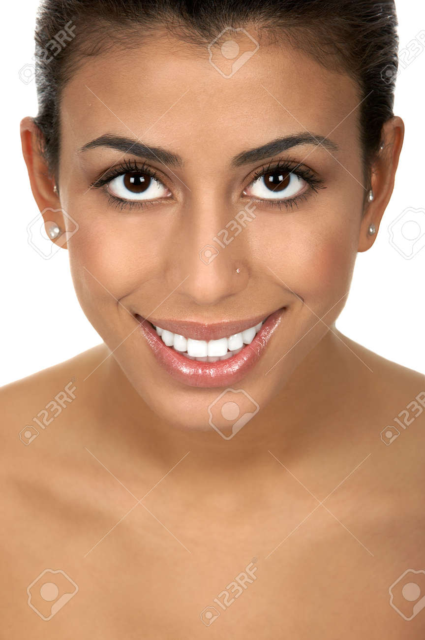 Beautiful young eastern woman. Isolated over  white background Stock Photo - 2405646
