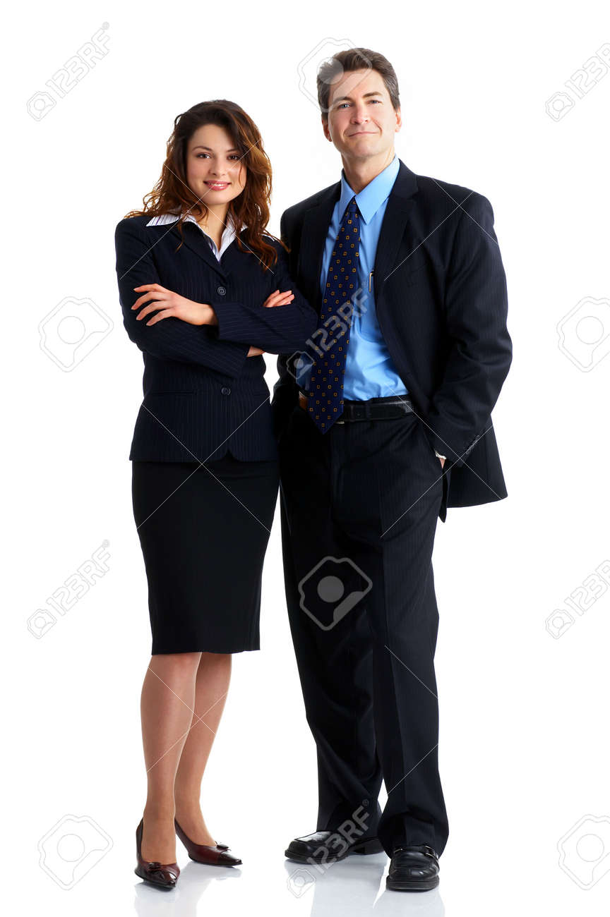 Young smiling  business woman and business man Stock Photo - 2775289