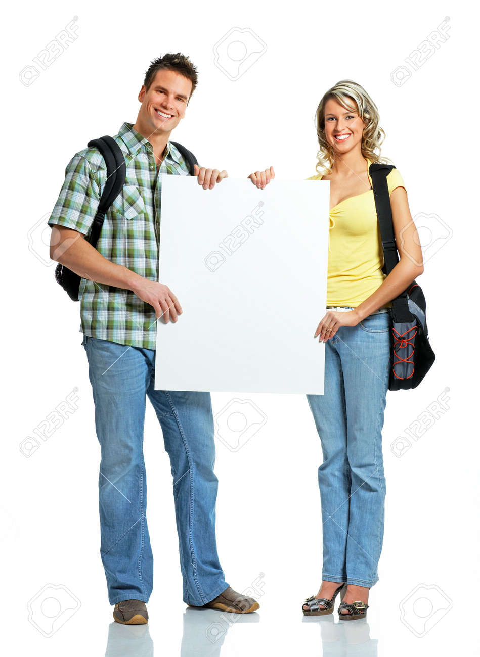 Young smiling  students with placard. Over white background Stock Photo - 2795933