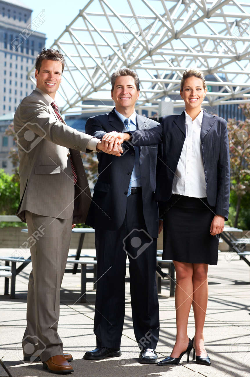 Business  meeting in the downtown. Businessmen and business woman Stock Photo - 3091865